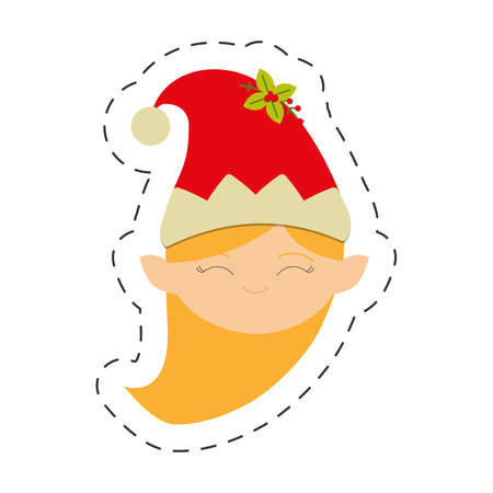 merry christmas girl elve image vector illustration eps 10 Illustration