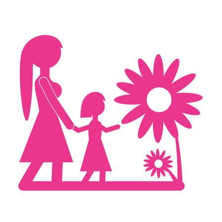 mom walking daughter beautiful flower vector illustration eps 10