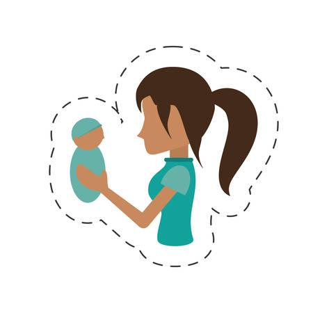 mom holding baby newborn image vector illustration eps 10