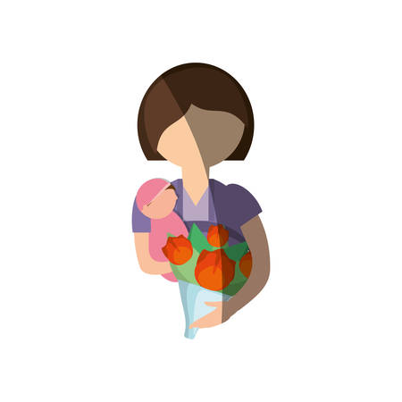 cuddling: mother holding baby and bouquet image vector illustration eps 10 Illustration