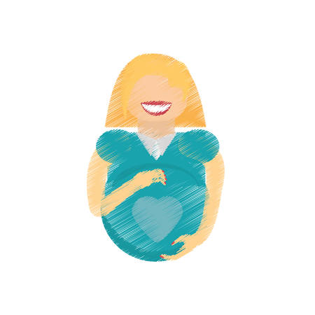 awaiting: drawing woman pregnant waiting expectant vector illustration eps 10 Illustration