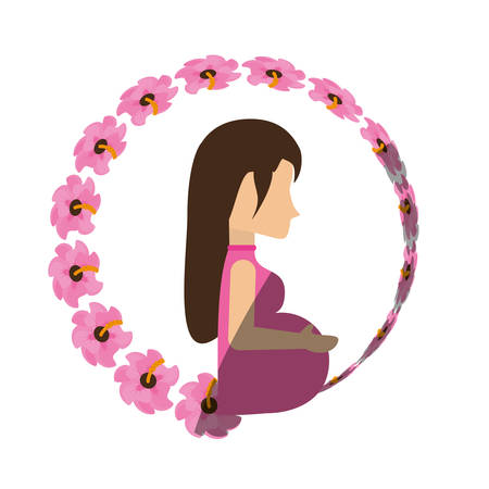 woman shadow: woman pregnant expectant flower shadow vector illustration eps 10