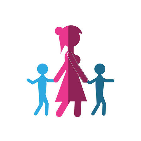 silhouette mom walking with two son vector illustration eps 10 Illustration