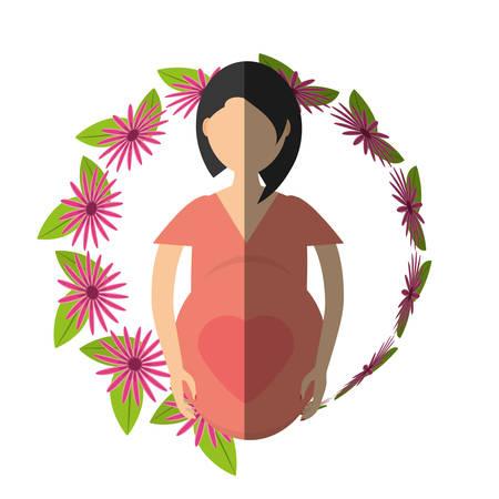 woman shadow: woman pregnant flower - shadow vector illustration eps 10 Illustration