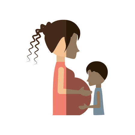 woman shadow: woman pregnant with son infant shadow vector illustration eps 10 Illustration