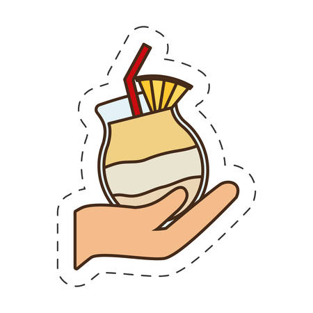 hand holding cocktail glass cup vector illustration eps 10