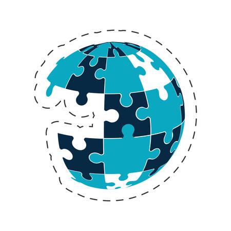 global puzzle solution image vector illustration eps 10 Illustration