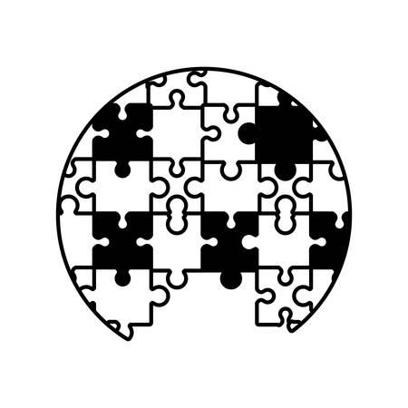 circle puzzle solution monochrome vector illustration eps 10 Illustration