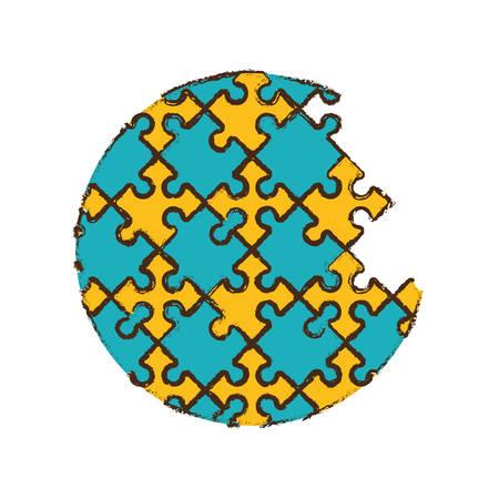 round puzzle pieces image vector illustration eps 10 Illustration