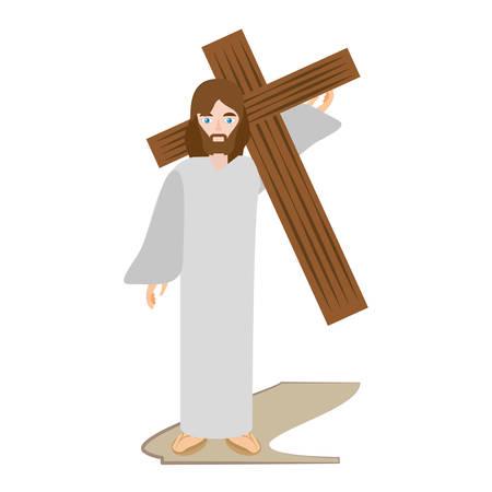 viernes santo: Jesucristo lleva cruz a través de crucis ilustración vectorial eps 10 Vectores