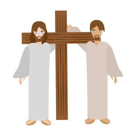 simon aiutare Gesù trasportare cross- via crucis illustrazione vettoriale eps 10