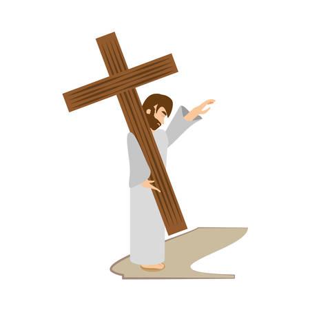 jesus christ comfort girls - via crucis station vector illustration eps 10