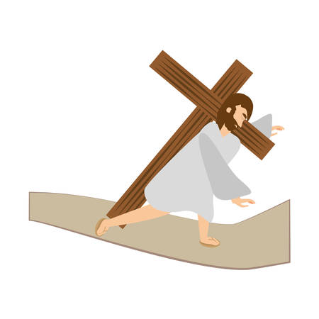 jesus christ third fall via crucis station vector illustration eps 10