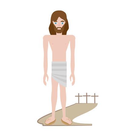 lent: jesus christ stripped robes - via crucis vector illustration eps 10
