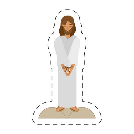 easter cross: cartoon jesus christ sentenced death - via crucis vector illustration eps 10