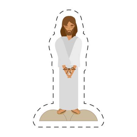 cartoon jesus christ sentenced death - via crucis vector illustration eps 10
