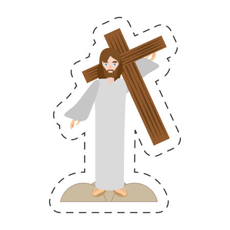 cartoon jesus christ carries cross via crucis vector illustration eps 10