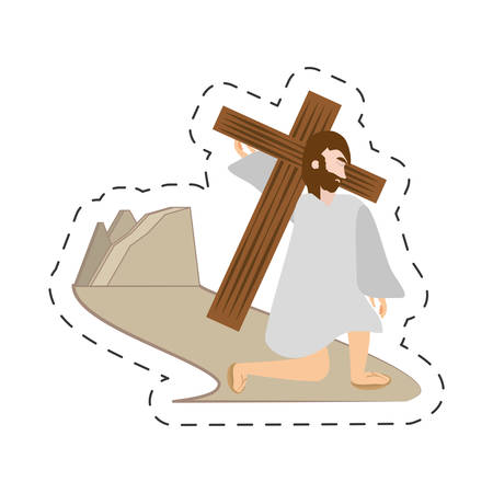 cartoon jesus christ falls first time - via crucis station vector illustration eps 10