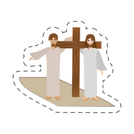 cartoon simon help jesus carry cross vector illustration eps 10