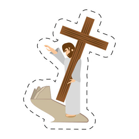 cartoon jesus christ comfort girls - via crucis station vector illustration eps 10 Illustration