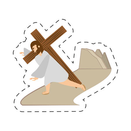 easter cross: cartoon jesus christ third fall via crucis station vector illustration eps 10