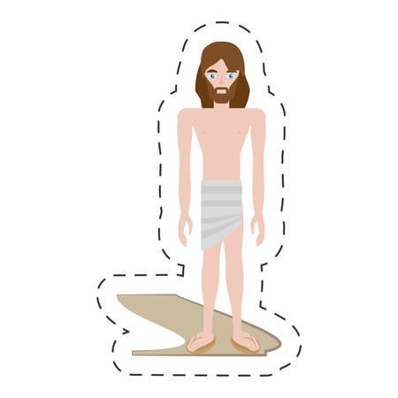 gospels: cartoon jesus christ stripped robes - via crucis vector illustration eps 10