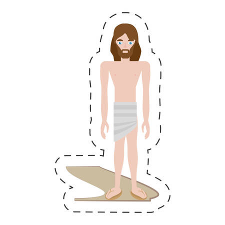 cartoon jesus christ stripped robes - via crucis vector illustration eps 10