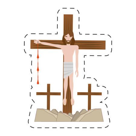 cartoon jesus christ nailed the cross - via crucis vector illustration eps 10
