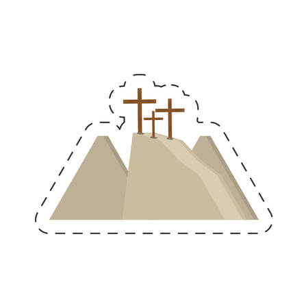 cartoon calvary hill three crosses vector illustration eps 10