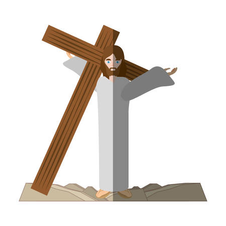 jesus christ carries cross via crucis shadow vector illustration eps 10