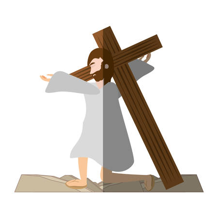 jesus christ falls first time - via crucis shadow vector illustration eps 10