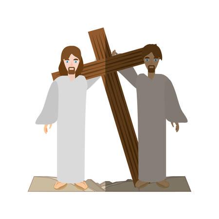 simon help jesus carry croos- via crucis shadow vector illustration eps 10