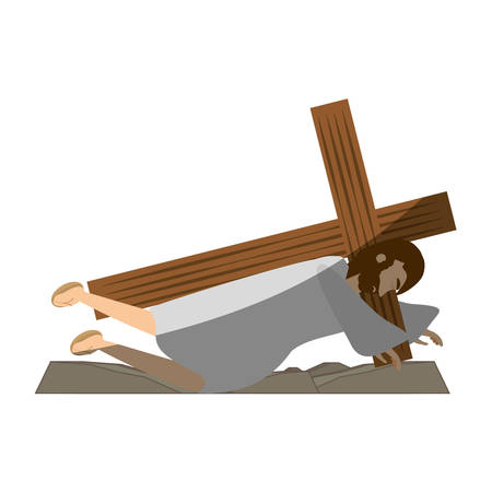 jesus christ second fall via crucis shadow vector illustration eps 10