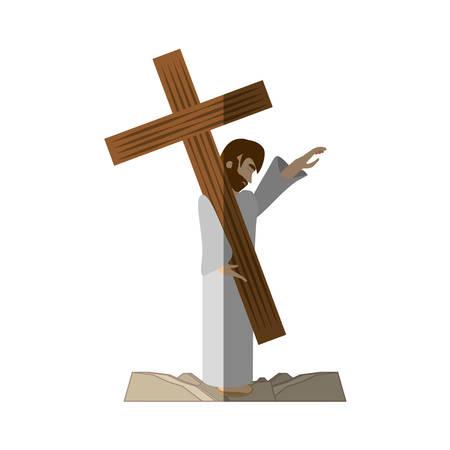 muchachas de la comodidad de Jesús Cristo - a través de crucis sombra ilustración vectorial eps 10 Ilustración de vector