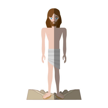gospels: jesus christ stripped robes shadow vector illustration eps 10