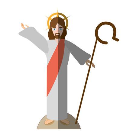 jesus christ resurrects shadow vector illustration eps 10 Illustration
