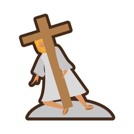 jesus christ meet virgin mary line vector illustration eps 10 Illustration