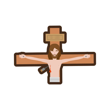 jesus christ dies cross line vector illustration eps 10