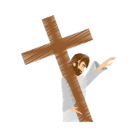 drawing jesus christ pray girls vector illustration eps 10