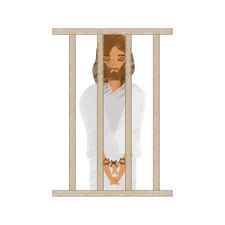 sentenced: drawing jesus christ sentenced death vector illustration eps 10