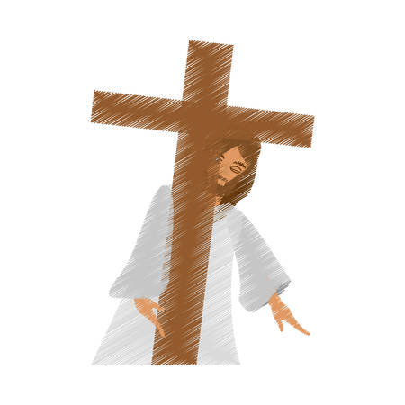 drawing jesus christ meet virgin vector illustration eps 10 Illustration