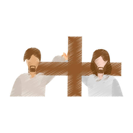 drawing man help jesus carry cross vector illustration eps 10