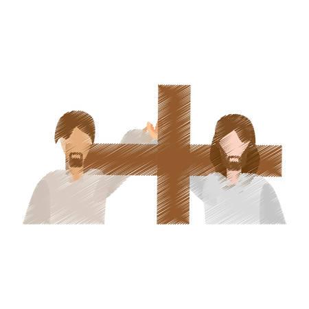 drawing man help jesus carry cross vector illustration eps 10 Illustration