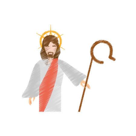 disegno di Gesù Cristo resuscita illustrazione vettoriale eps 10 Vettoriali