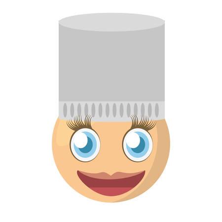 thoughtful: emoji chef female expression image vector illustration eps 10