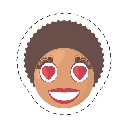 emoticon love female comic image vector illustration eps 10