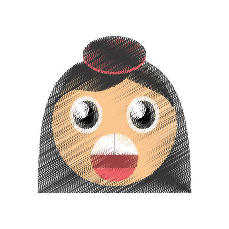drawing girl surprise emoticon image vector illustration eps 10