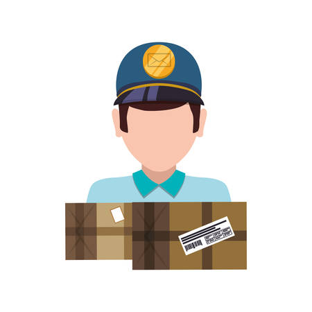 Mailman delivery service icon vector illustration graphic design