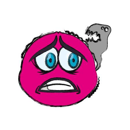 terrified: Scared cartoon face icon vector illustration graphic design Illustration