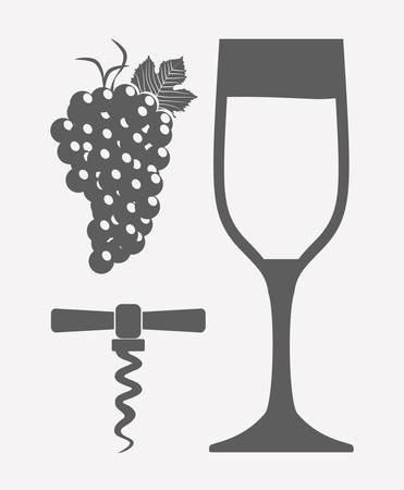 wineglass and corkscrew icon over white background. vector illustration